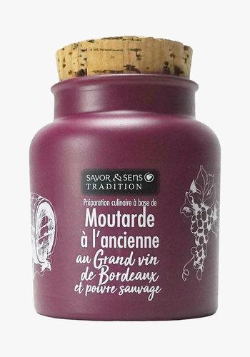 Moutarde à l'ancienne au grand vin de Bordeaux & poivre | Savor & Sens | 110g