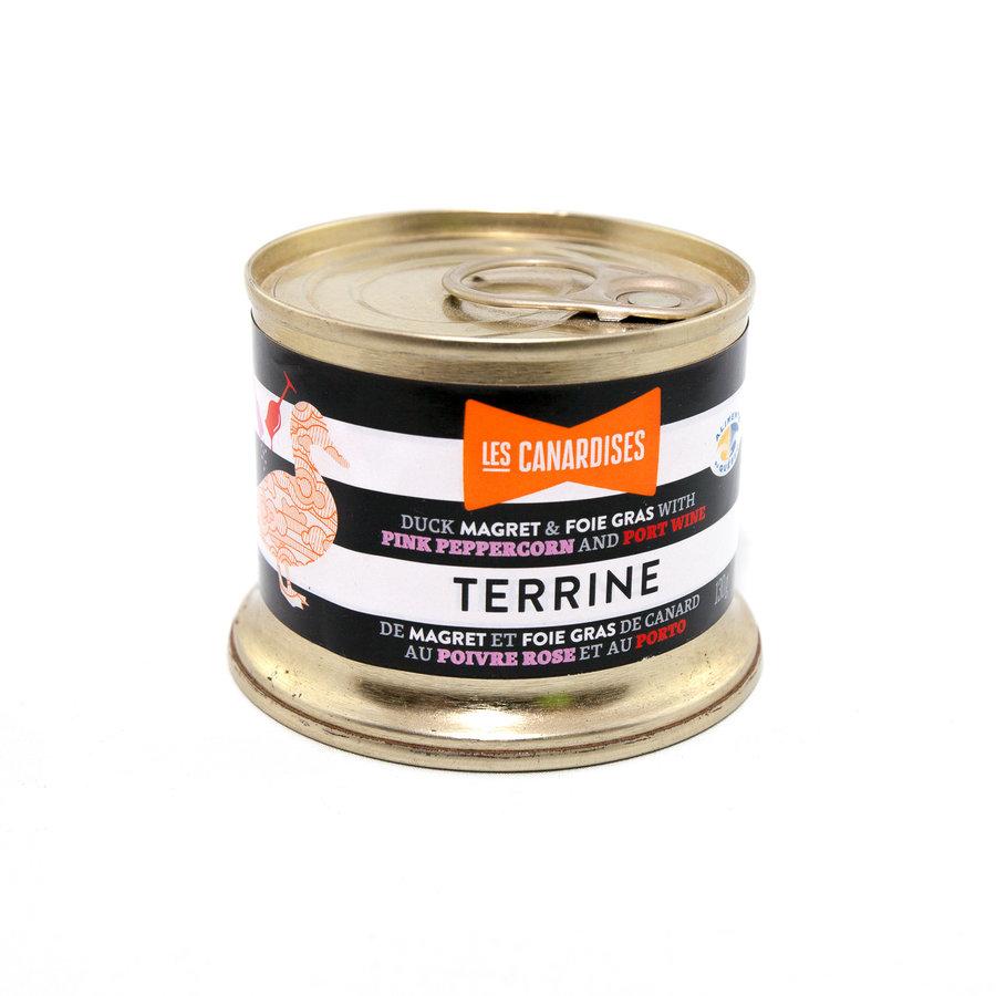 Terrine de magret et foie gras de canard au poivre rose et au porto | Les Canardises | 130g