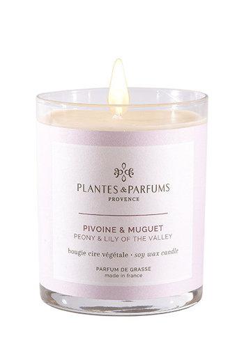 Bougie végétale parfumée  | Pivoine & Muguet |Plantes & Parfums Provence | 180g