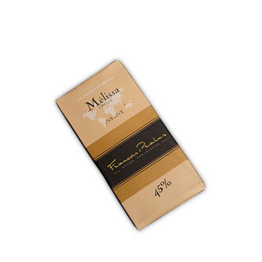 Barre de chocolat noir 45%| Mélissa | Criollo |FRANÇOIS PRALUS | 100g