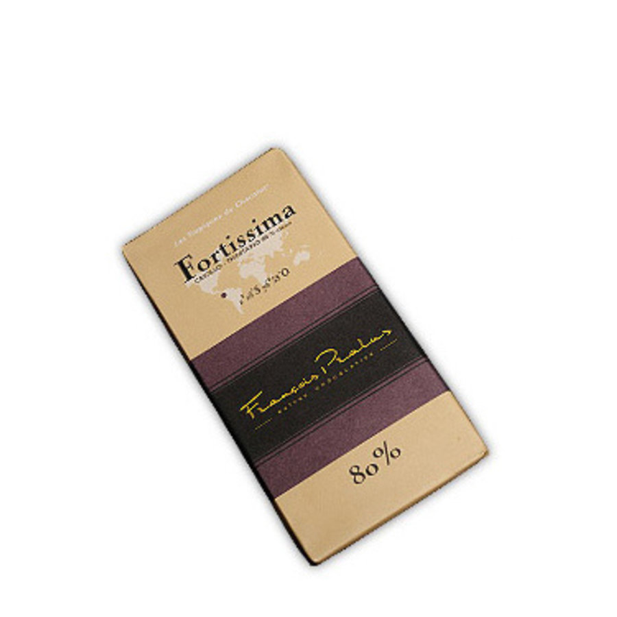 Barre de chocolat noir 80% | Fortissima |Criollo- Forastero -Trinitario |FRANÇOIS PRALUS | 100g