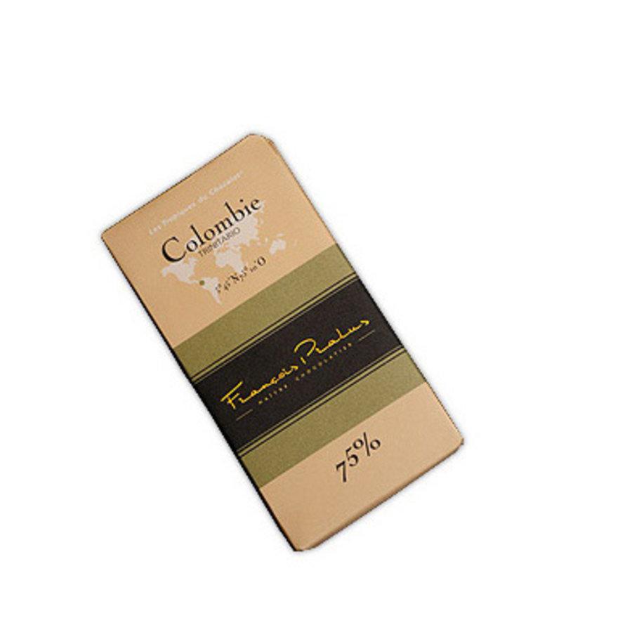 Barre de chocolat noir 75%   Colombie  Trinitario  FRANÇOIS PRALUS   100g