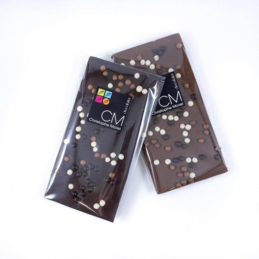 Tablette Crispearls noir   Signature  Morel Chocolatier