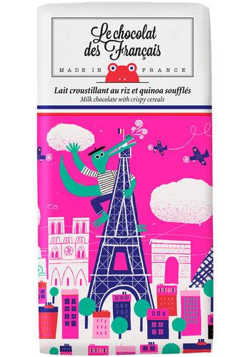 Chocolat au lait croustillant avec riz et quinoa soufflés - Crocodile | Le Chocolat des Français | 80gr