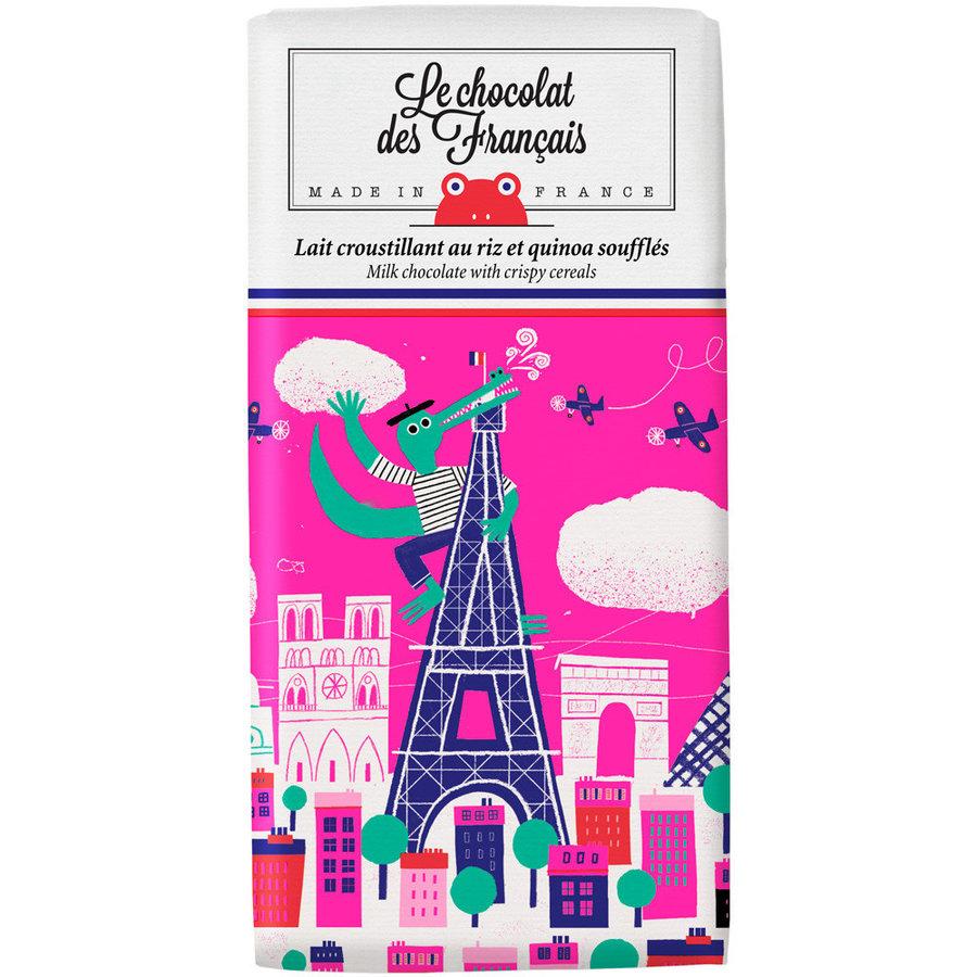 Chocolat au lait  croustillant avec riz et quinoa soufflés -Crocodile| Le Chocolat des Français -80G