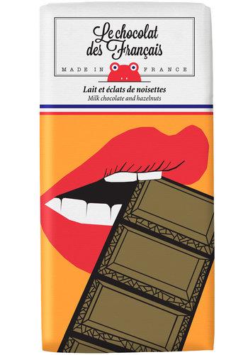 Chocolat au lait et éclats de noisettes - La Bouche Croquante | Le Chocolat des Français | 80gr