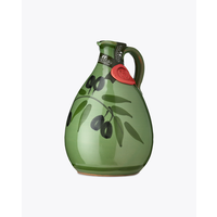 Huile d'olive dans cruche peinte a la main  verte| Tony| 500 ml