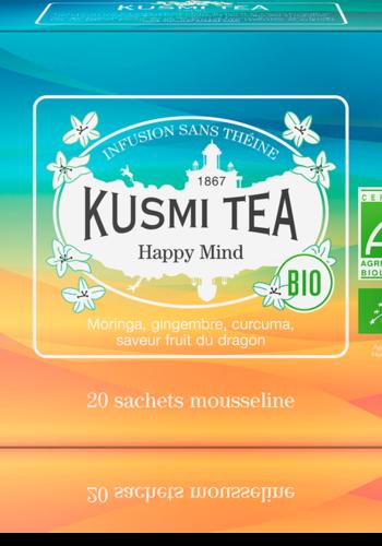 Infusion Happy Mind bio | | Kusmi Tea | Étui 20 sachets mousseline 40g