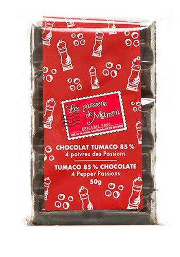 Barre de chocolat Huila Tumaco 85% et 4 poivres Les Passions de Manon -  50g