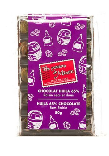 Les Passions de Manon Huila Dried Raisins & Rum Chocolate 65% Bar -  50g