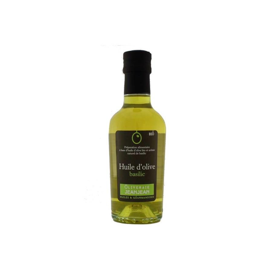 Huile d'olive bio extra-vierge au basilic Oliveraie Jean Jean  250 ml