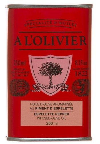 Huile  d'olive extra-vierge au piment d'espelette  À l'Olivier - 250ml