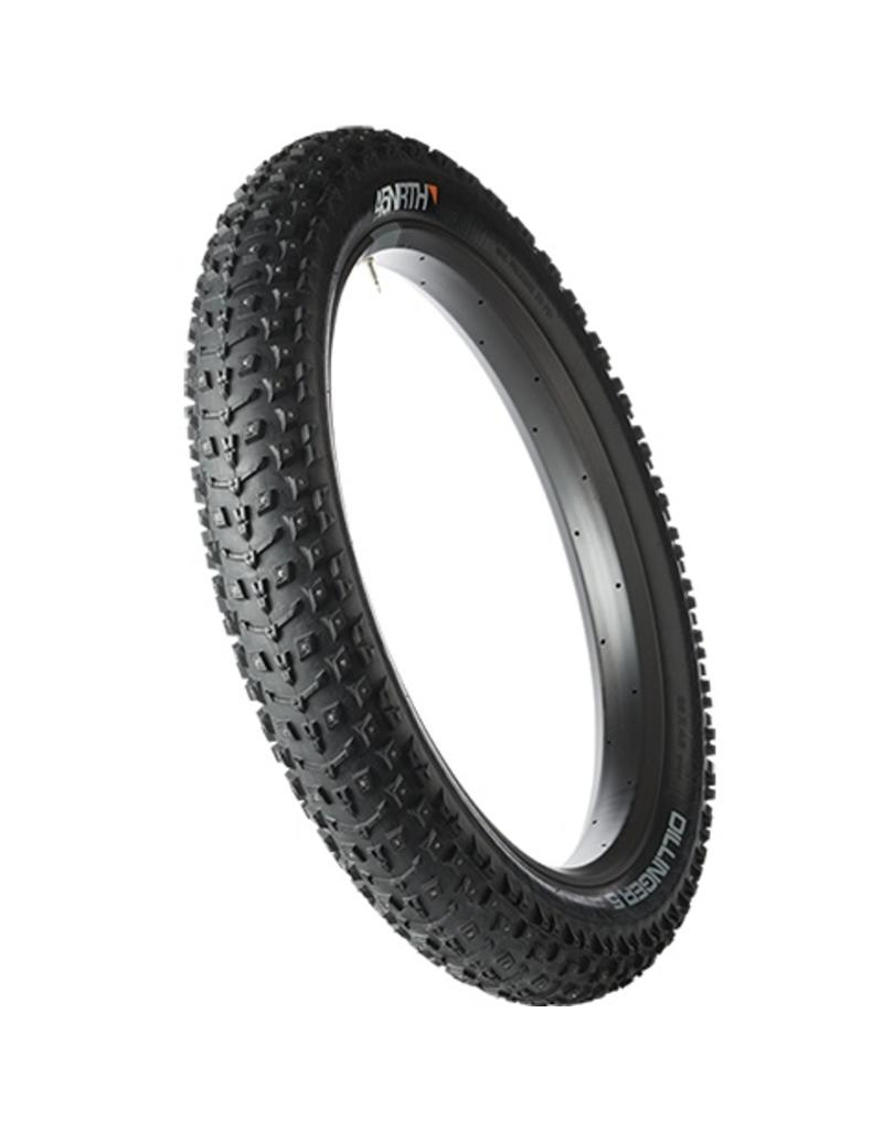 "45nrth Dillinger 5 Studded Fat Bike Tire: 26 x 4.6"", 258 Concave Studs, Tubeless Ready Folding, 120tpi, Black"
