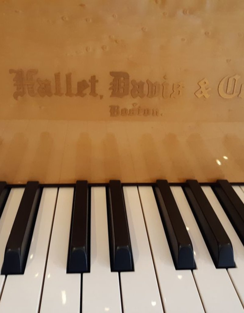 "Hallet Davis & Co. Hallet Davis & Co. HD-152/T 5'0"" Deco Grand Piano (High Polished Ebonywith High Polish Birdseye Maple Accents, Inner Rim, and Underside of LId)"