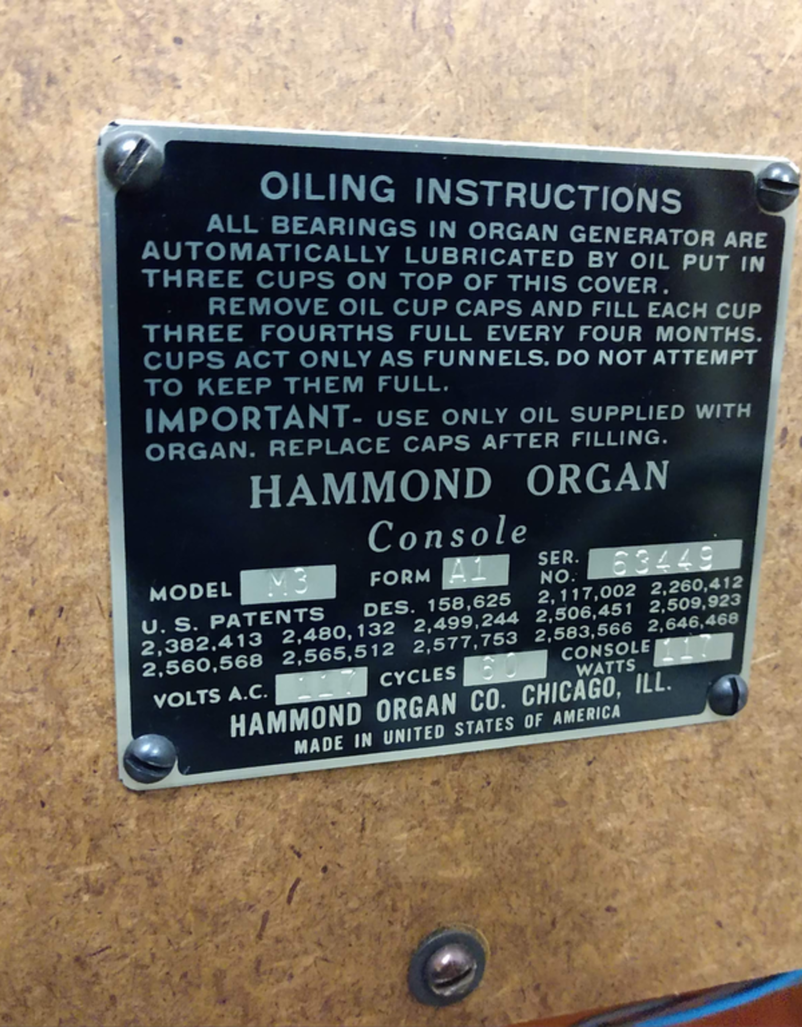 Hammond Hammond M3 Tone Wheel Generator Organ - c.1956