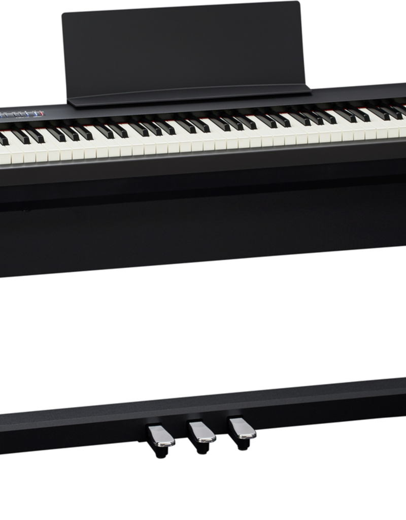 Roland Roland FP-30 Digital Piano (Black) with bench, stand, and pedal board.