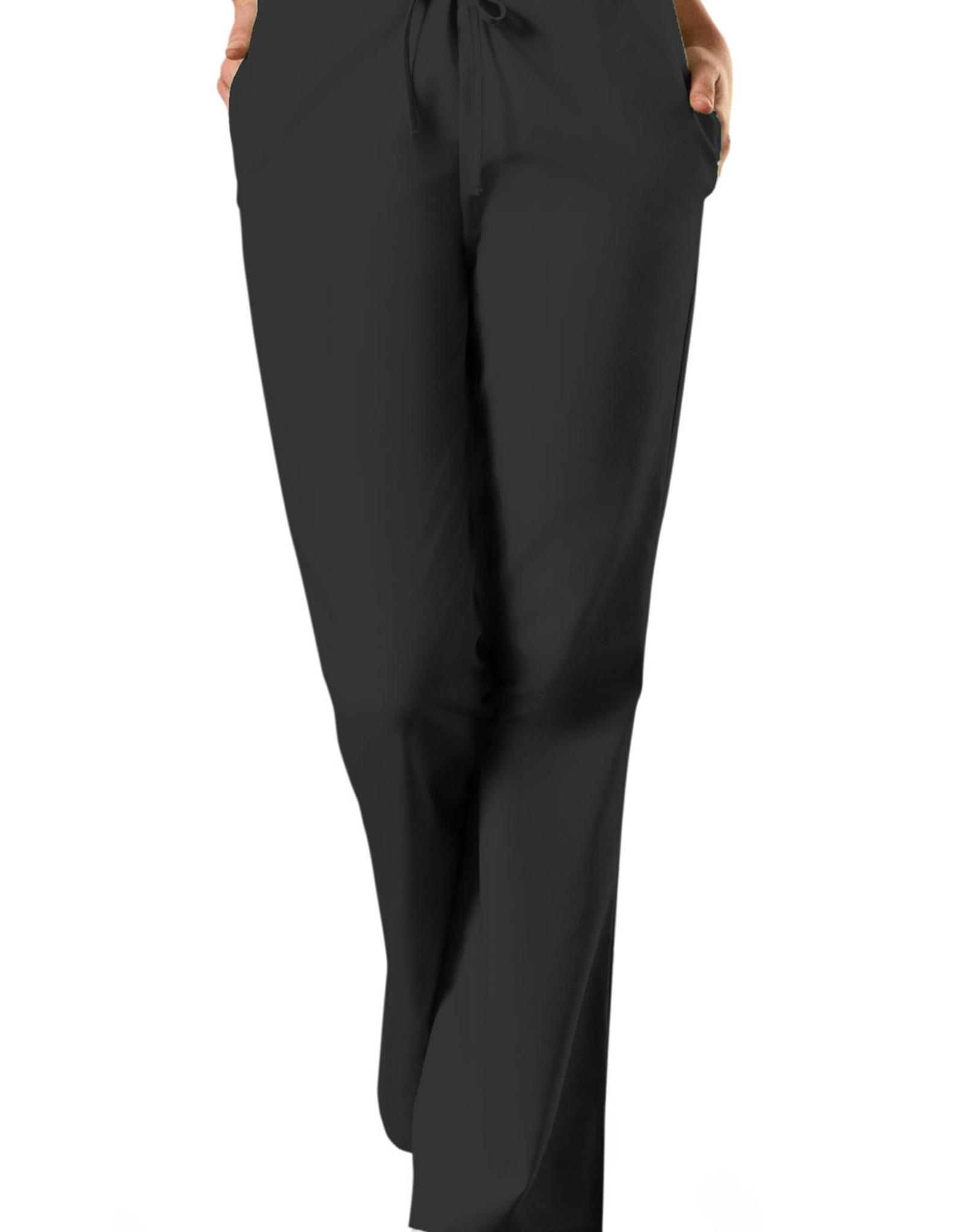 Natural Rise Flare Leg Drawstring Pant in Black