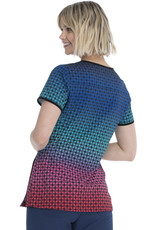 HeartSoul HS877 V-Neck Top Colorful Check