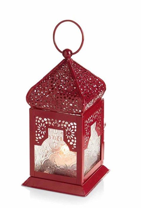 Small Red Moroccan Motif Lantern