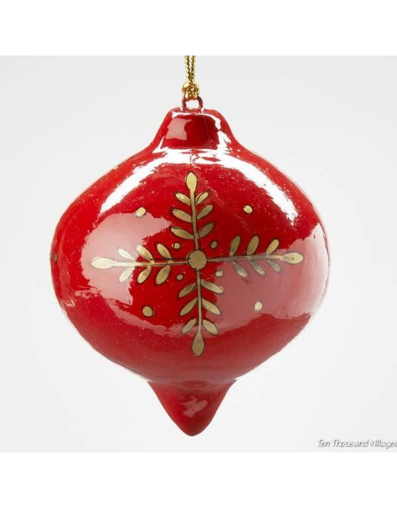 Ornament - Red Globe Paper Mache