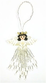 Ornament - Large Angel - White with Black Hair