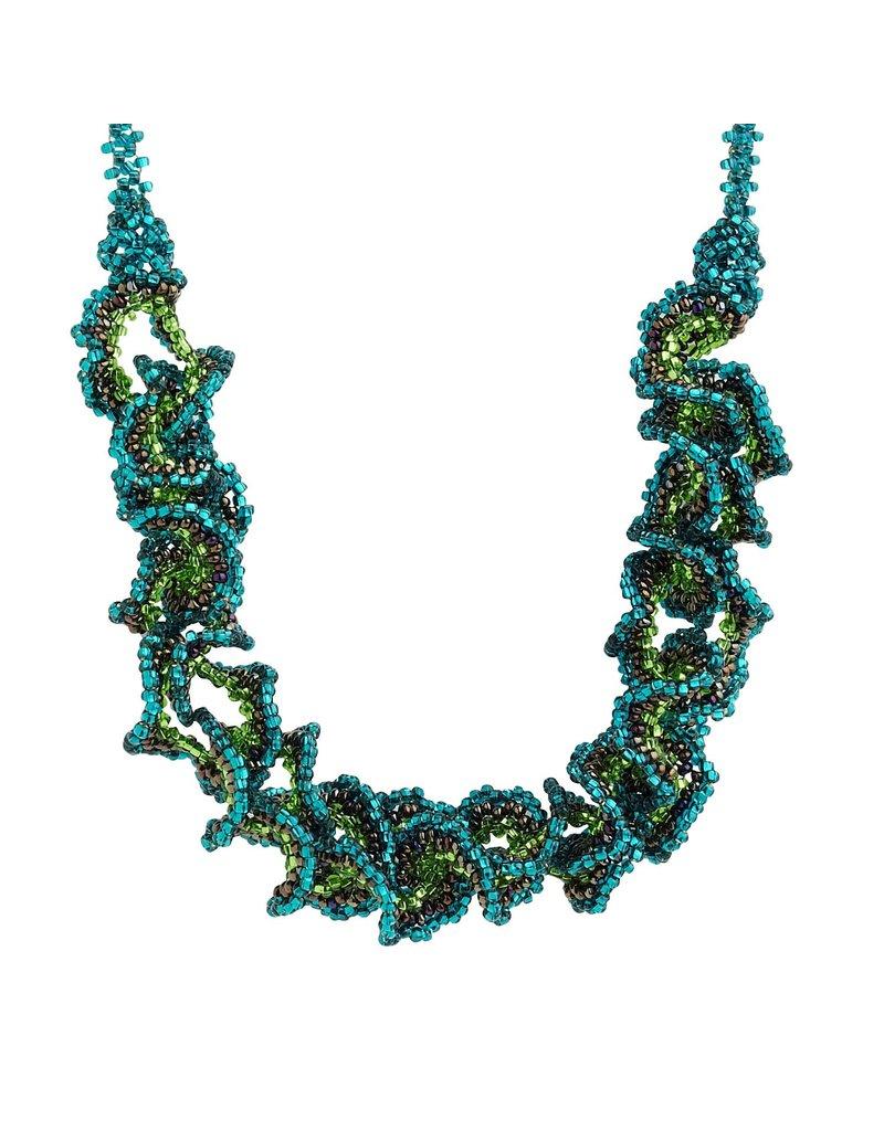 Necklace - Ruffled Glass Beads, Green Forest Kaleidoscope