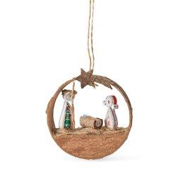 Ornament - Nativity Cinnamon Bark Coiled Paper