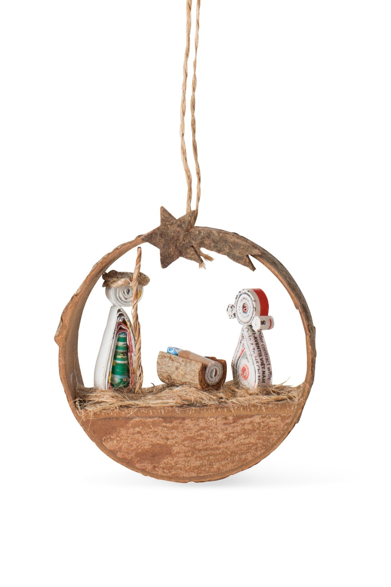 Ornament - Nativity Cinnamon Bark Coiled Paper