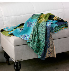 Kantha Throw Cool Blue Green