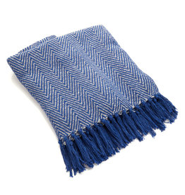 Rethread Throw - Blue Chevron Herringbone