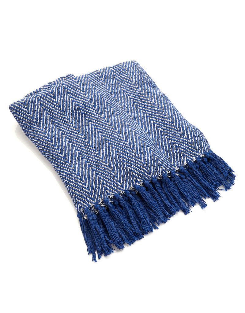 Rethread Throw - Blue Chevron Herringbone