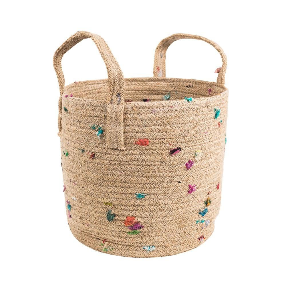 "Basket - Bright Bits Jute 10"""