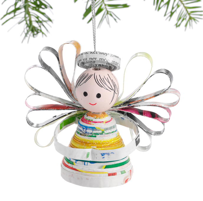 Ornament - Happy Angel Recycled