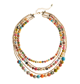 Necklace - Five-Strand Sari Bead
