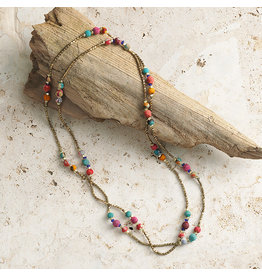 Necklace - Long Sari Bead and Brass