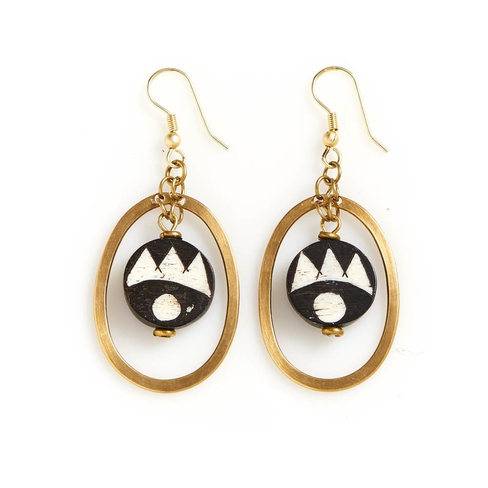 Earrings - African Batik & Brass