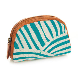 Pouch - Batik Zip Teal Striped