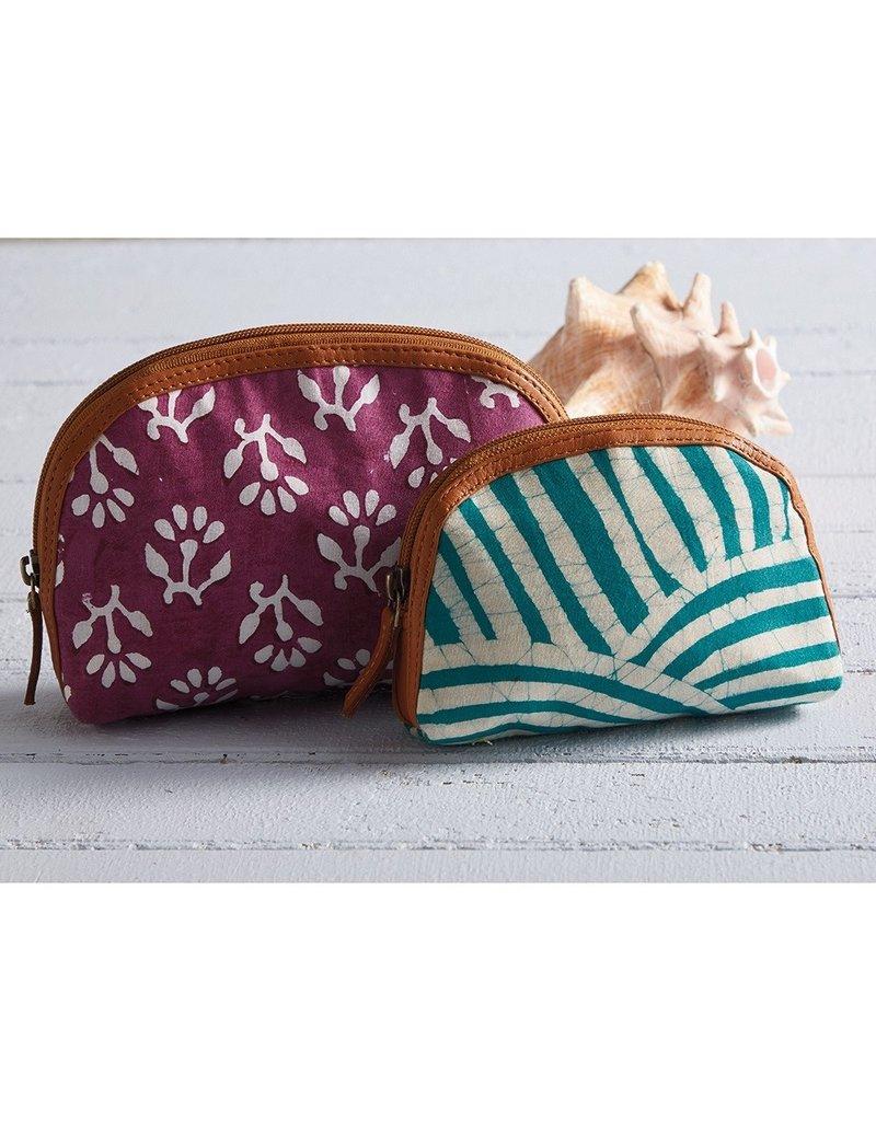 Pouch - Batik Zip Teal Striped