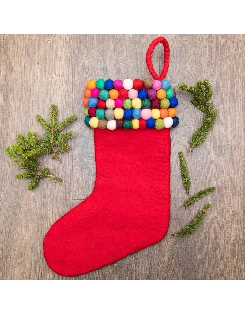 Christmas Stocking - Felt Ball
