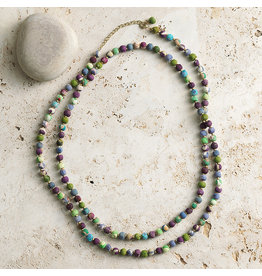 Necklace - Sari Long Cool Tones