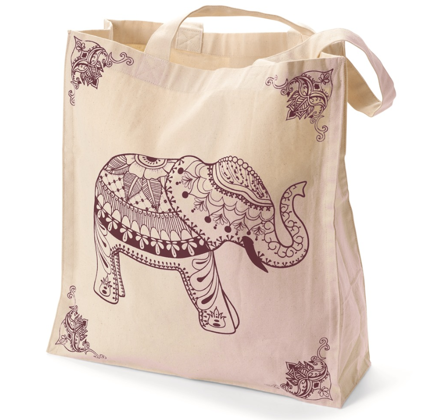 Tote - Elephant Canvas Burgundy