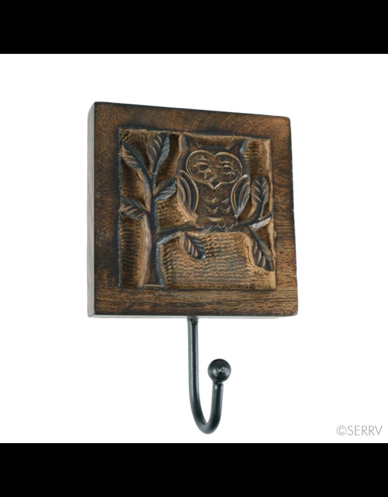 Wall Hook - Single Owl, Wooden
