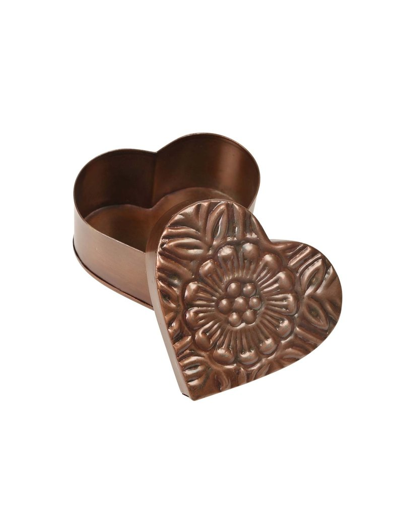 Metal Heart Box - Floral