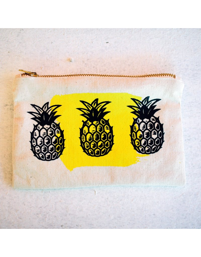 Canvas Zipper Pouch - Pineapple Yellow