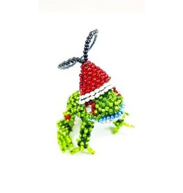 Ornament - Beaded Santa Frog