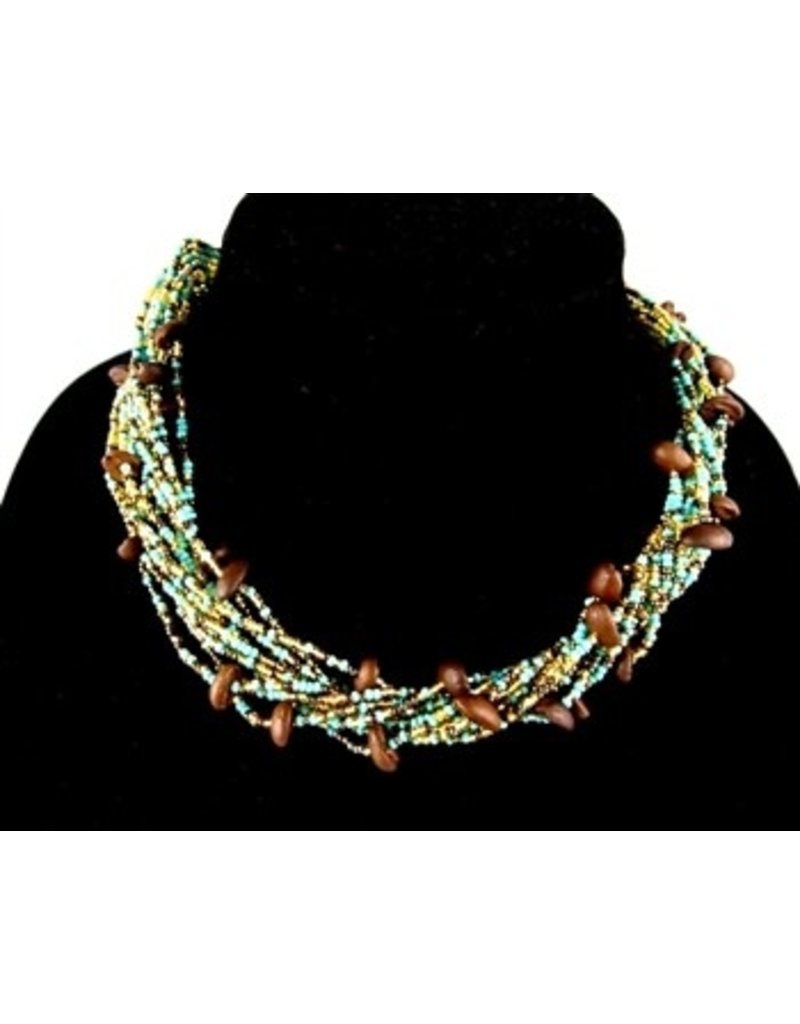 Necklace - Coffee Bean Turquoise and Gold