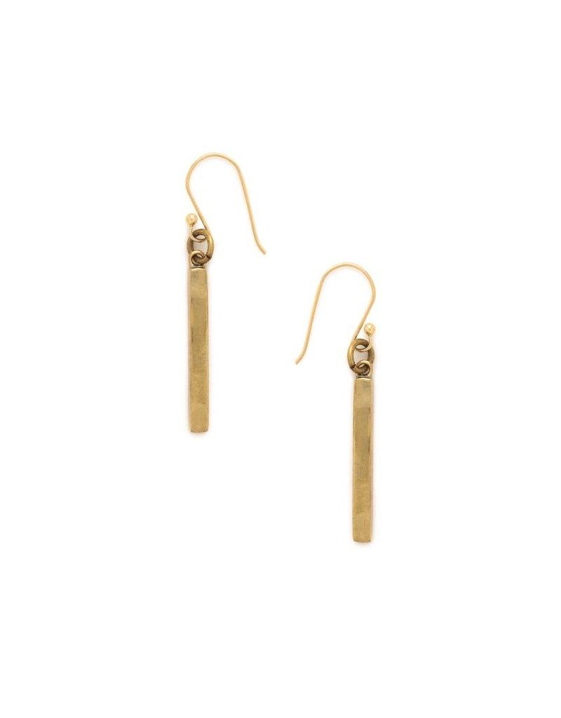 Earrings - Recycled Brass Bar