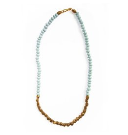 "Necklace - Paper Bead 16"" Halifax Sky Blue"