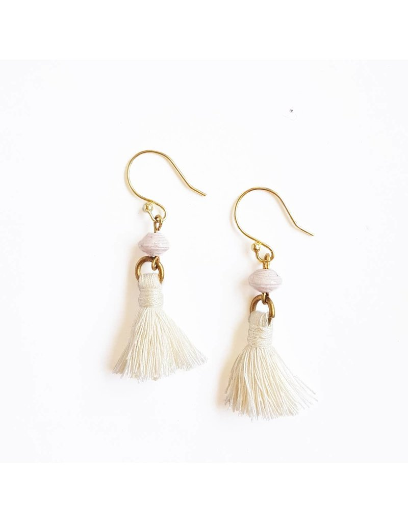 Earrings - Recycled Paper Bead Tassel, Cream
