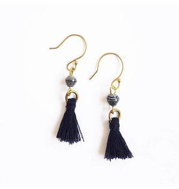 Earrings - Recycled Paper Bead Tassel, Quarry